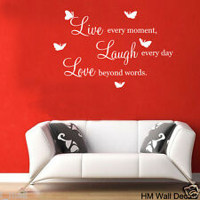 """""""LOVE LIVE LAUGH """"  inspiration quote Wall Art Removable vinyl Wall Sticker"""