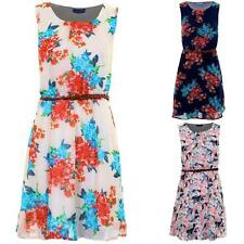 Women's Chiffon Lined Belted Sleeveless Feather Floral Print Ladies Skater Dress