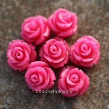 Plastic Rose Flower Coral Spacer beads Red Blue White U Choose Color/Size