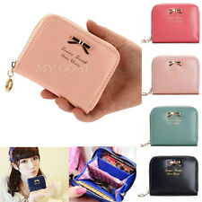 Women Mini Bowknot Leather Purse Zipper Small Clutch Lady Wallet Card Holder Bag