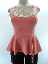 New BOGO USA Coral Feminine Fitted Floral Lace Peplum Sleeveless Blouse S M L