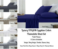 Egyptian Cotton Flannel / Flannelette Sheet Set All Bed Sizes - Color Choices