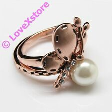 18K Rose Gold Plated Half Butterfly Ring Size 7 8 Rings Free Shipping 18-K