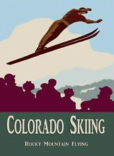 Colorado Ski Skiing Rocky Mountain Flying Sport Vintage Poster Repro FREE S/H