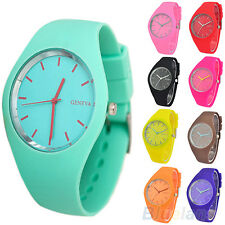 Womens Delicate Super Soft Jelly Silicone Sports Watch Students Wrist Watch B87K