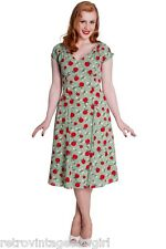 Hell Bunny Sheila Dress Vintage Retro Rockabilly Pinup Green Apples 40's 50's