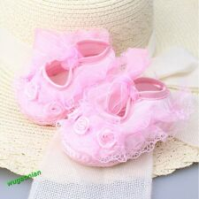 Cute Baby Girls Non-Slip Newborn Infant Baby Toddler Lace Frilly Flower Shoes
