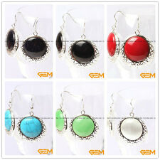 34mm Coin Gemstone beads Tibetan Silver Dangle Fashion Jewelry Earrings Yao-Bye