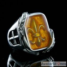 Men's Rocker Cowboy Biker Bling 316L Stainless Steel Fleur de Lis Ring R5V72