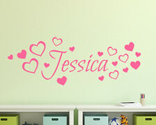 Personalised Children's Name Hearts Bedroom Wall Art Vinyl Decal Sticker gift