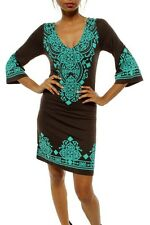 CHELSEA VERDE Moroccan Boho Chic Brown/Turquoise Dress/Tunic 412 1X-2X-3X