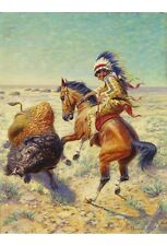 LOUIS MAURER Chief Spotted Tail Shooting Buffalo CANVAS various SIZES, BRAND NEW