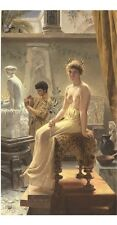 "ANGELO COMTE DE COURTEN ""The Sculptor's Model"" woman BARE breast studio CANVAS"