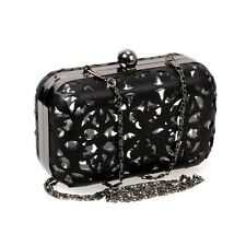 BMC Cut Out Faux Leather Covered See Through Clear Hard Plastic Fashion Clutch
