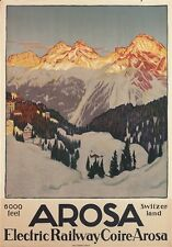 "CARDINAUX ""Arosa"" snow mountains sunset railway CANVAS print of vintage poster"