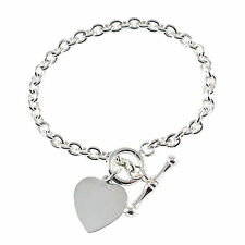 Single Link Sterling Silver Charm Bracelet With Heart & Bar - 3 Sizes
