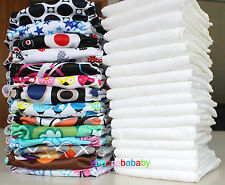 One Size Fits Most Baby Washable Reusable Cloth Diaper Multi-Color Nappy Insert