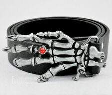 Skull Hand with Ruby Ring Mens Western Cowboy Metal Buckle Genuine Leather Belt