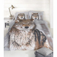 PHOTOGRAPHIC WOLF DUVET COVER Animal 3D Effect Print Bedding Blue Brown Bed Set