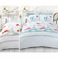 SHABBY CHIC PARIS DUVET COVER Eiffel Tower Rose Bird Bedding Cotton Rich Bed Set