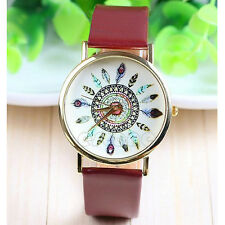 Vogue Lady Leather Band Feather Dial Geneva Quartz Analog Unique Wrist Watch