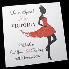 "LARGE 8""x8"" Personalised Birthday Card Mum Auntie Sister Daughter Friend Niece"