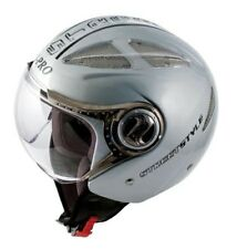 Jet Open Face Motorcycle Motorbike Scooter Crash Helmet Vented Viper Silver