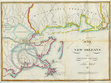 1815 LOUISIANA MISSISSIPPI TERRITORY GULF DELTA NAUTICAL MAP Largest Size