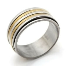 Artistic 2 Tones Gold Plated 4 Smooth Circles Stainless Steel Band  Ring #7-#11