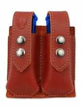NEW Barsony Burgundy Leather Double Magazine Pouch Colt Beretta Full Size 9mm 40