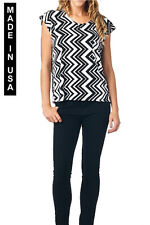 WOMEN CHEVRON PRINT SLEEVELESS TOPS WITH POCKET - MADE IN USA (MORE COLORS)