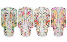 Ladies New Kimono Loose Festival Floral Summer Drape Blouse Cardigan Top 8-14