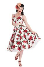Cannes Red Rose Print Circle Skirt by Hell Bunny
