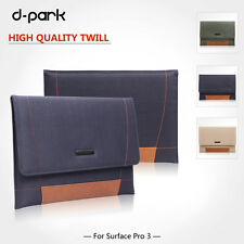 dpark P/C Twill&Genuine Leather Bag Sleeve Case For Microsoft Surface Pro 3 12''
