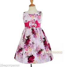Lilac Red Floral Print Cotton Girl Summer Dress Up Party Holiday Size 2-6y SD009