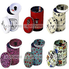 Double Cover Small Cylinder Coffee Food Storage Tea Caddy Tins Canister Boxes