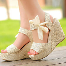 Summer Womens Sweet Wedge Platform Sandals Bowknot Ankle Lace Strap Shoes Beige