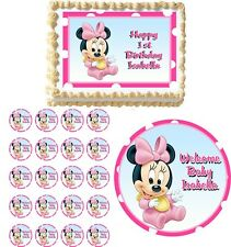 BABY MINNIE Edible Cake Topper Cupcake Image Decoration 1st Birthday Baby Shower