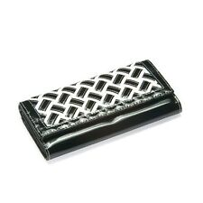 Faux Patent Leather Weave Tri-Fold Wallet