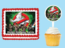 GHOSTBUSTERS Edible Birthday Party Cake Cupcake Topper Plastic Pick Sticker