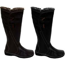 Ladies Real Leather Faux Fur Trim Side Toggles Calf High Women's Boots Shoes