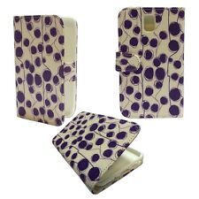 PURPLE DOTS AND LINE PRINT BOOK FLIP CASE FOR SAMSUNG GALAXY NOTE 3 GT-N9000