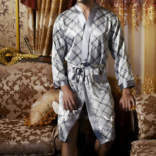 Men's Faux Silk Pajamas Belt Sleepwear Long Robes Nightwear Lattice Pocket Gown