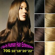70g 7pcs 16''18''20''22''Remy Clip In 100%Real Human Hair Extensions Any Colors