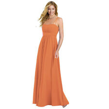 Elegant Chiffon Spaghetti Formal Evening Gown Bridesmaid Maxi Dress Orange