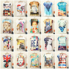 Brand New Women's Short Sleeve Graphic Printed T Shirt Casual Tees Blouses Tops