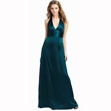 Halter Neck Silk Satin Formal Evening Bridesmaid Dress Party Ball Gown Green