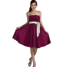 Sexy A-Line Strapless Chiffon Formal Bridesmaid Cocktail Party Dress Violet