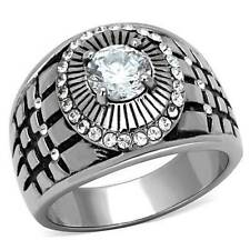 TK1614pb   Mens Stainless Steel  aaa grade cz ring  signet pinky studded