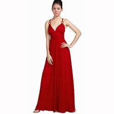 Elegant Chiffon Triple Spaghetti Formal Evening Gown Bridesmaid Dress Red